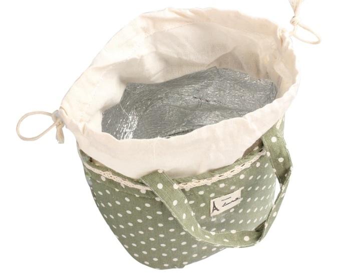 ■新品即決■巾着ランチバッグ・保温/保冷バック■ドット緑・弁当袋■海外中国■
