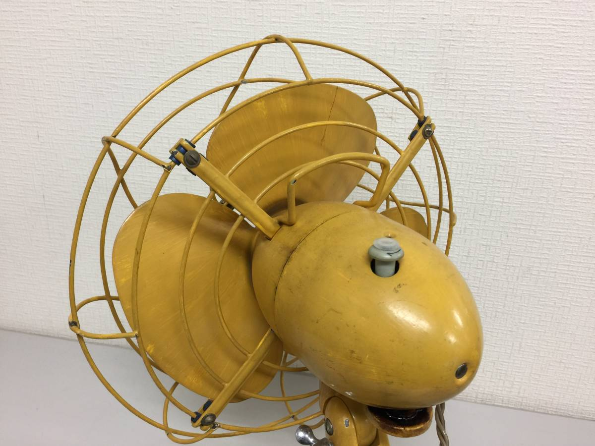 昭和レトロ MEIDEN メイデン 明電舎 扇風機 DY-201D 黄色 アンティーク デスク インテリア AC DESK FAN    E1.2_画像3
