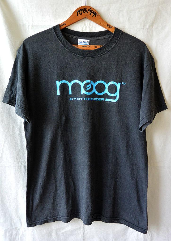 【アメリカ買付/90'sヴィンテージ】moog synthesizer/モーグ ロゴ Tシャツ/ブラック×ターコイズブルー/M/シンセサイザー/アメリカ製/レア