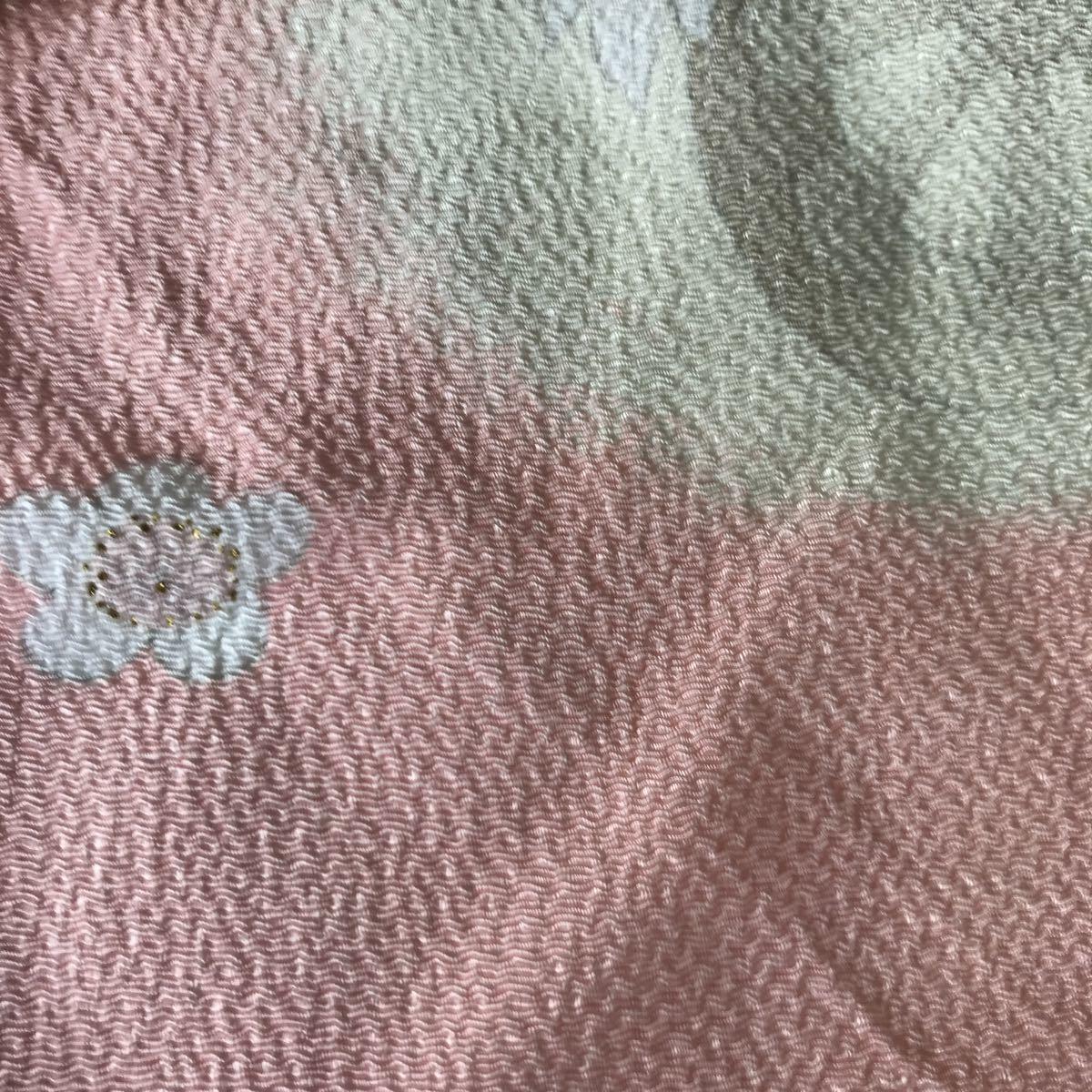 風呂敷 ふじみやび ちりめん レーヨン100% 日本製 ピンク色 未使用 花デザイン サイズ約64.5×66㎝ 可愛い品_画像7