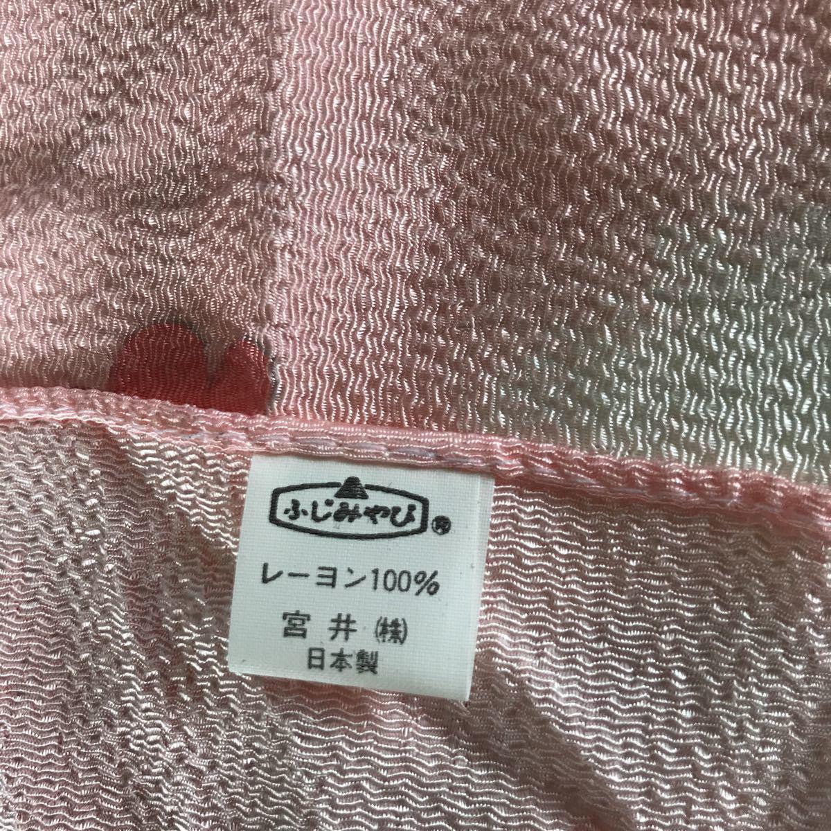 風呂敷 ふじみやび ちりめん レーヨン100% 日本製 ピンク色 未使用 花デザイン サイズ約64.5×66㎝ 可愛い品_画像5