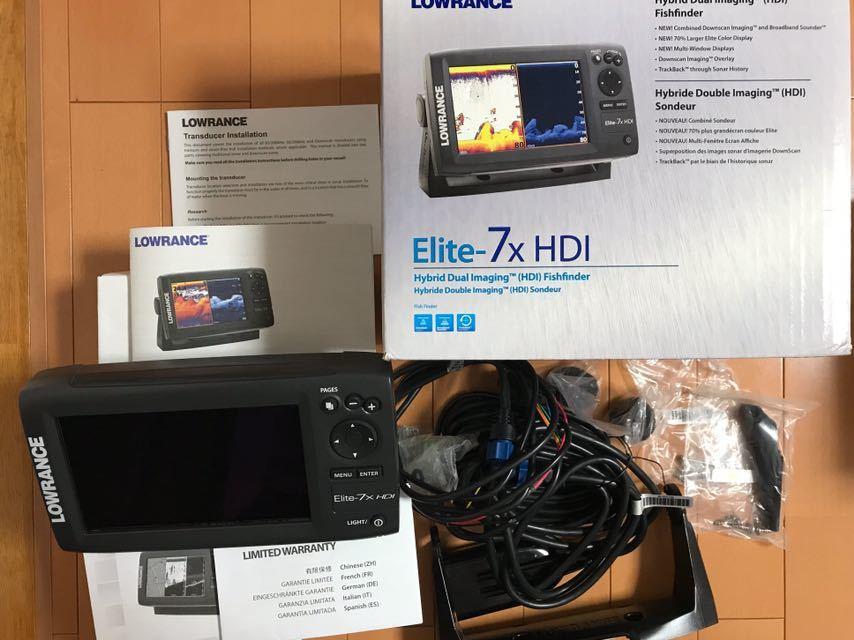 ★ローランス LOWRANCE ELITE-7×HDI 魚探 振動子付 未使用品★_画像4