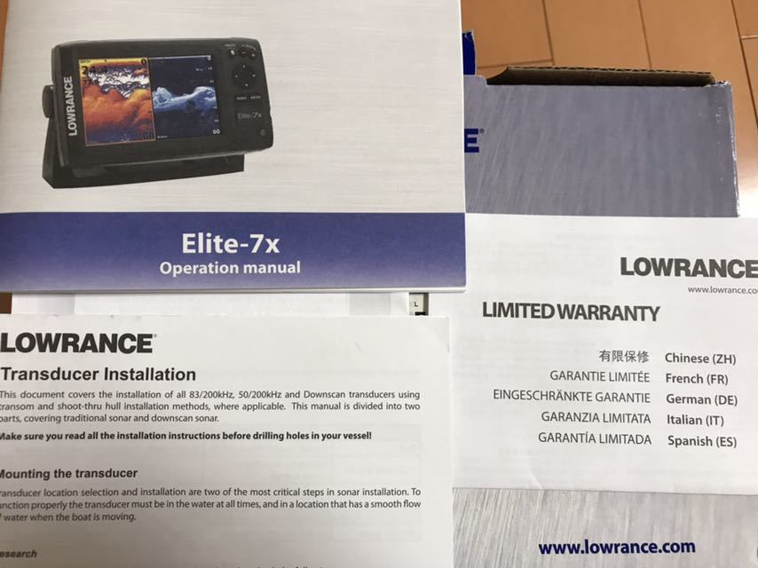 ★ローランス LOWRANCE ELITE-7×HDI 魚探 振動子付 未使用品★_画像6