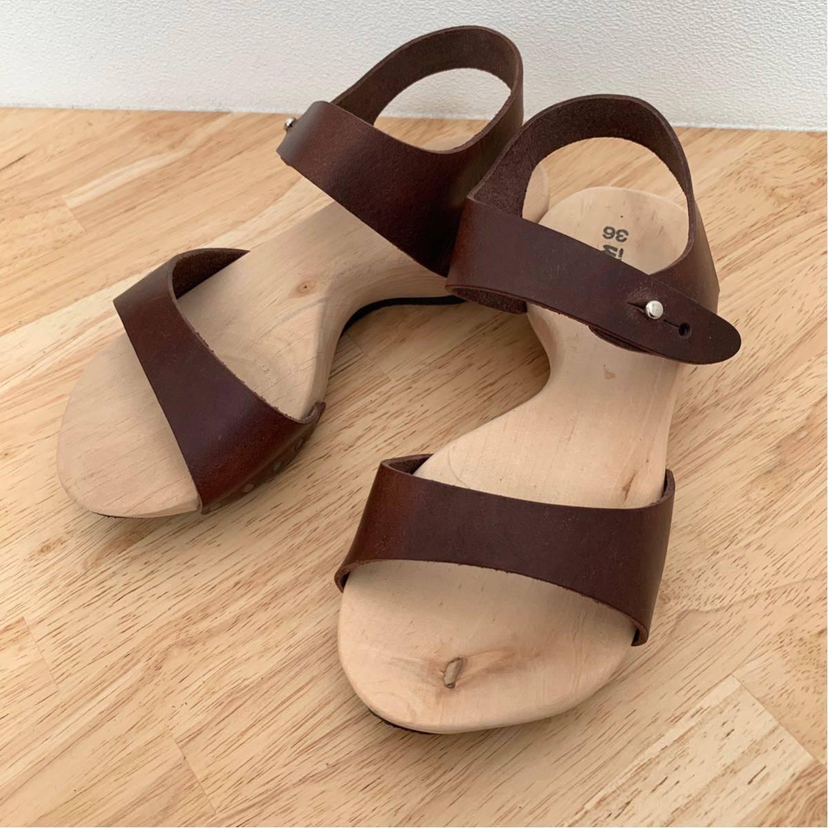 新品★trippen ウッド レザーサンダル joy ブラウン 36 ジョイ 茶色 トリッペン 靴 ドイツ_画像2