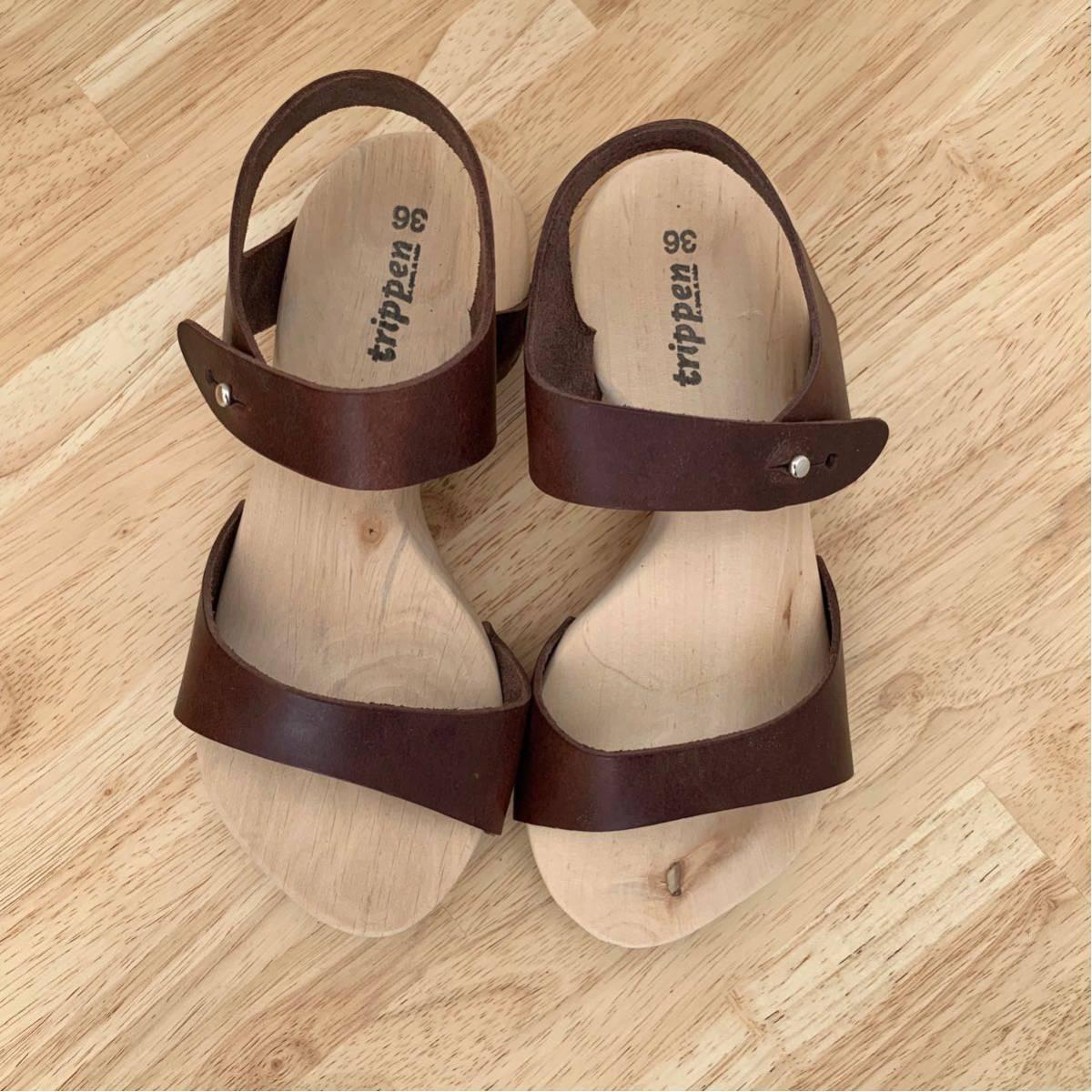 新品★trippen ウッド レザーサンダル joy ブラウン 36 ジョイ 茶色 トリッペン 靴 ドイツ_画像1