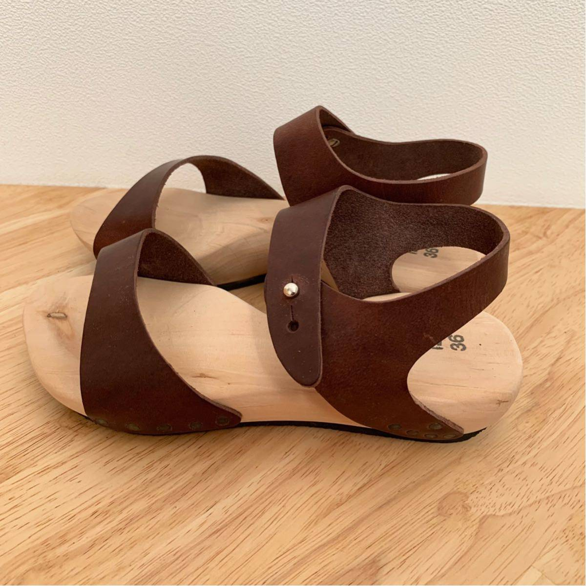 新品★trippen ウッド レザーサンダル joy ブラウン 36 ジョイ 茶色 トリッペン 靴 ドイツ_画像3