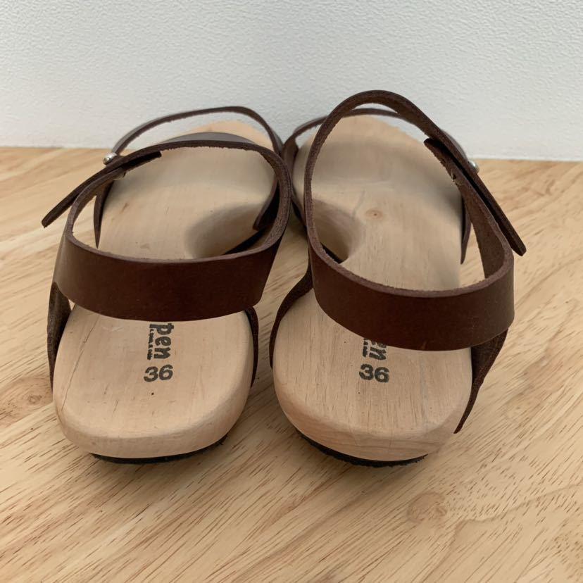 新品★trippen ウッド レザーサンダル joy ブラウン 36 ジョイ 茶色 トリッペン 靴 ドイツ_画像4