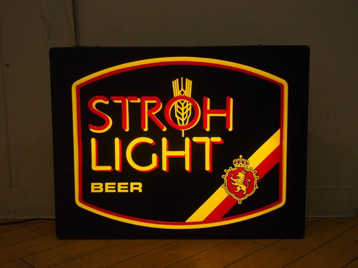 ビンテージ ライトサイン strohs ストローズ ビール ネオン 看板 壁掛け 照明 ディスプレイ インテリア バー アメリカン ダイナー #2_画像1