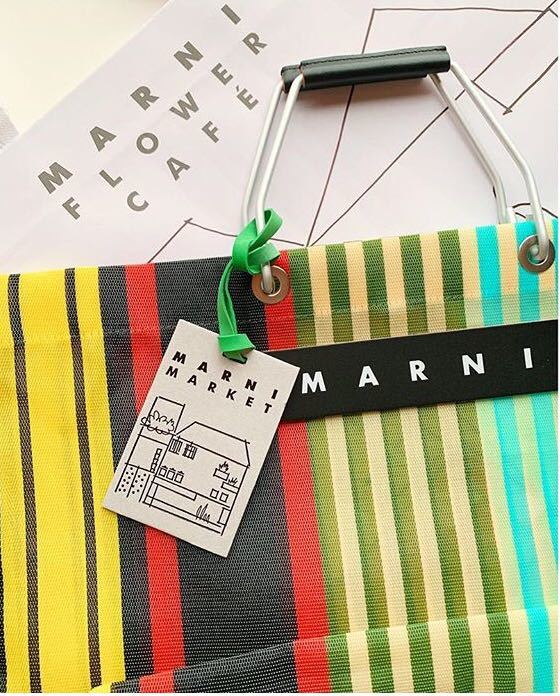 新品 タグ付き★MARNI マルニ フラワーカフェ ストライプ トート バッグ★マルチイエロー(保存袋&ショッパー)_画像2
