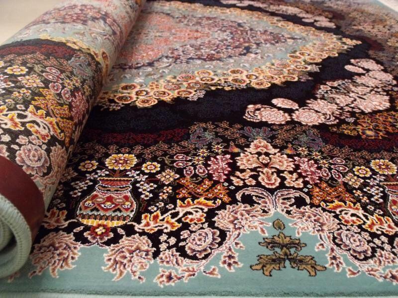 【ペルシャ絨毯】家具上品で美しい色調の逸品 高級ペルシャ絨毯 150万縫い針 ウール/シルク 大判!サイズ200cm*290cm ★高級感満載★_画像3
