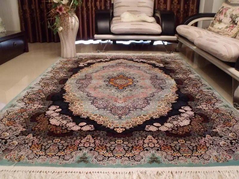 【ペルシャ絨毯】家具上品で美しい色調の逸品 高級ペルシャ絨毯 150万縫い針 ウール/シルク 大判!サイズ200cm*290cm ★高級感満載★