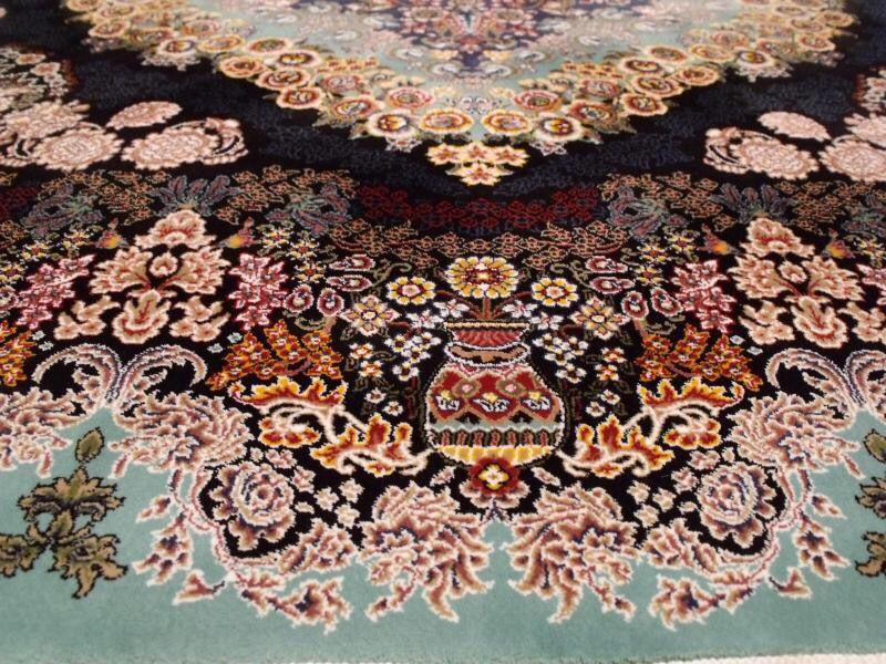 【ペルシャ絨毯】家具上品で美しい色調の逸品 高級ペルシャ絨毯 150万縫い針 ウール/シルク 大判!サイズ200cm*290cm ★高級感満載★_画像2