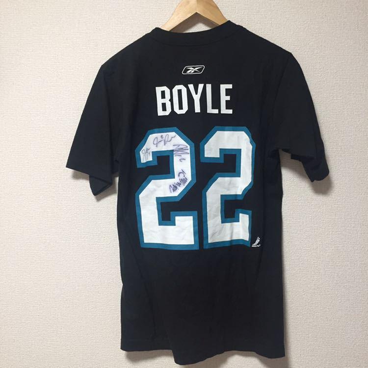 古着Tシャツ リーボック NHL サンノゼシャークス BOYLE Sサイズ ブラック_画像4
