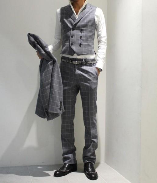 送料込 junhashimoto(ジュンハシモト)ウイングチップ スタッズ レザーシューズ 定価62,640円 25.5cm 短靴 AKM 1piu1uguale3 メンズ 黒革靴_画像6