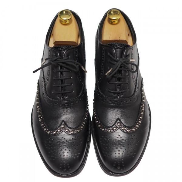 送料込 junhashimoto(ジュンハシモト)ウイングチップ スタッズ レザーシューズ 定価62,640円 25.5cm 短靴 AKM 1piu1uguale3 メンズ 黒革靴_画像3