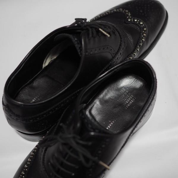 送料込 junhashimoto(ジュンハシモト)ウイングチップ スタッズ レザーシューズ 定価62,640円 25.5cm 短靴 AKM 1piu1uguale3 メンズ 黒革靴_画像10