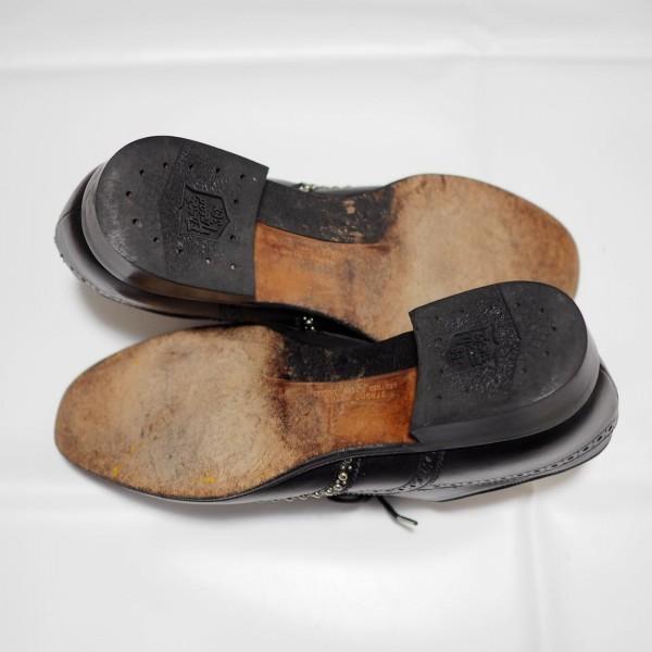 送料込 junhashimoto(ジュンハシモト)ウイングチップ スタッズ レザーシューズ 定価62,640円 25.5cm 短靴 AKM 1piu1uguale3 メンズ 黒革靴_画像9