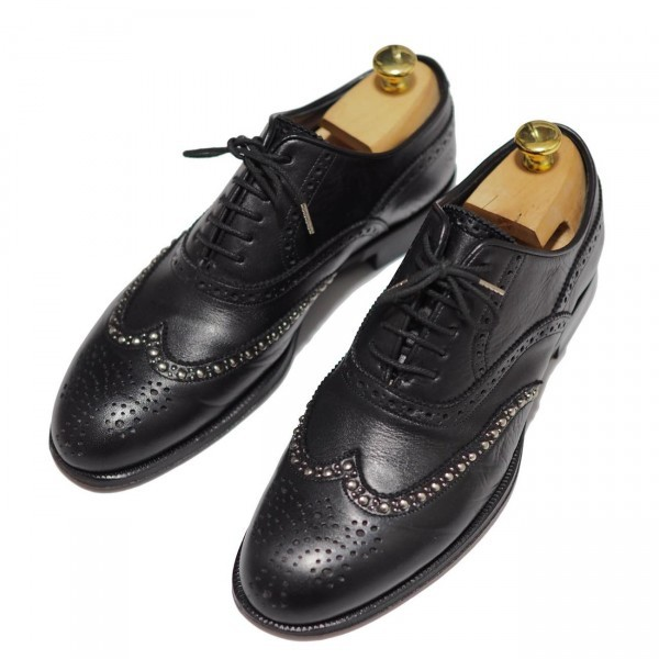 送料込 junhashimoto(ジュンハシモト)ウイングチップ スタッズ レザーシューズ 定価62,640円 25.5cm 短靴 AKM 1piu1uguale3 メンズ 黒革靴_画像8