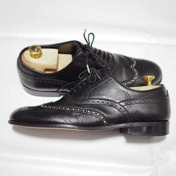 送料込 junhashimoto(ジュンハシモト)ウイングチップ スタッズ レザーシューズ 定価62,640円 25.5cm 短靴 AKM 1piu1uguale3 メンズ 黒革靴_画像4