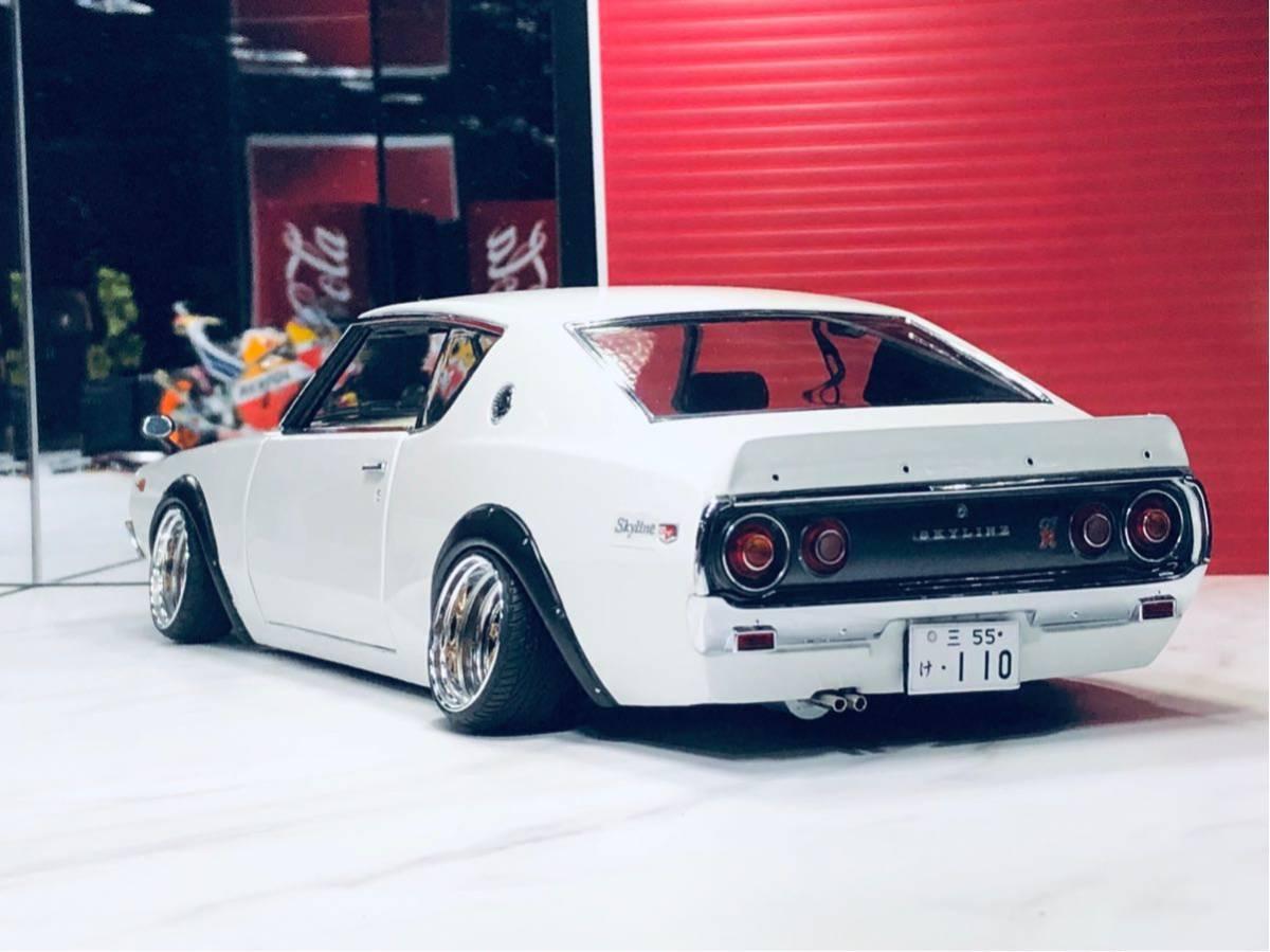 1/18 ケンメリ 2000 GT-R ☆カスタム改造 希少な白ステアリング動作可能_画像6