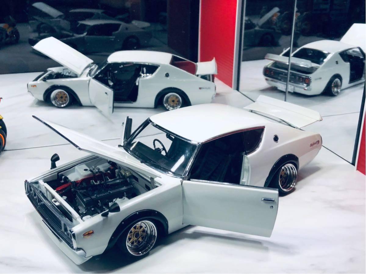 1/18 ケンメリ 2000 GT-R ☆カスタム改造 希少な白ステアリング動作可能_画像9