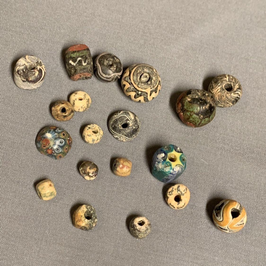 古いとんぼ玉 ビーズ 古玉など19個 コレクター ペルシャ イラン 古代ローマ