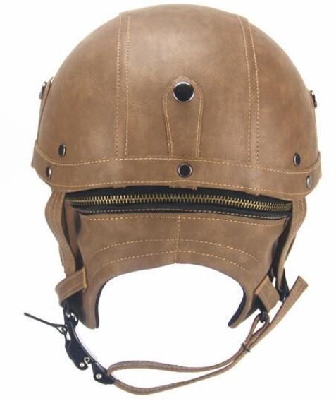 新デザイン~PU レザー ハーレーヘルメット バイク 半キャップ ジェットヘルメット ビンテージ ★ 56~61CMサイズ  ブラウン_画像5