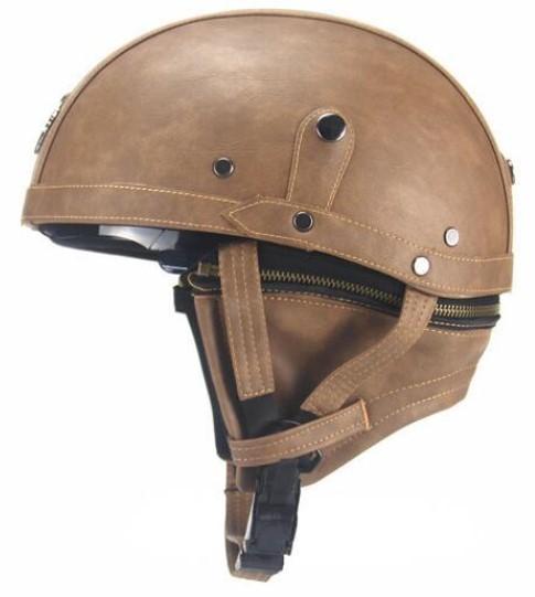新デザイン~PU レザー ハーレーヘルメット バイク 半キャップ ジェットヘルメット ビンテージ ★ 56~61CMサイズ  ブラウン_画像2