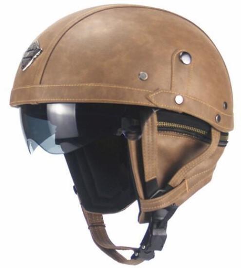 新デザイン~PU レザー ハーレーヘルメット バイク 半キャップ ジェットヘルメット ビンテージ ★ 56~61CMサイズ  ブラウン_画像3