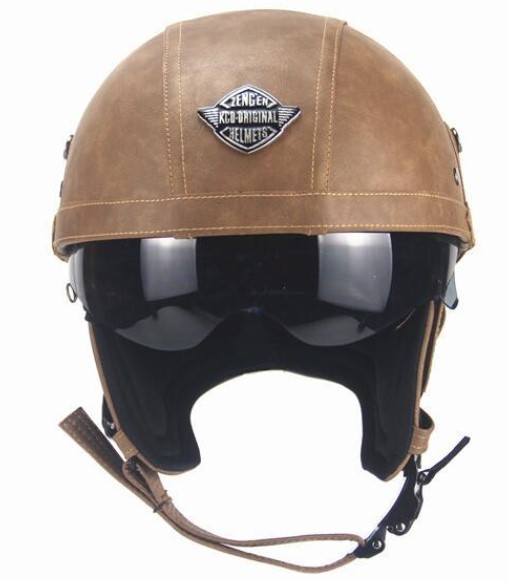 新デザイン~PU レザー ハーレーヘルメット バイク 半キャップ ジェットヘルメット ビンテージ ★ 56~61CMサイズ  ブラウン_画像1