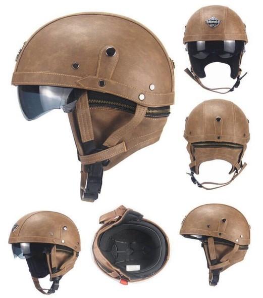 新デザイン~PU レザー ハーレーヘルメット バイク 半キャップ ジェットヘルメット ビンテージ ★ 56~61CMサイズ  ブラウン_画像4