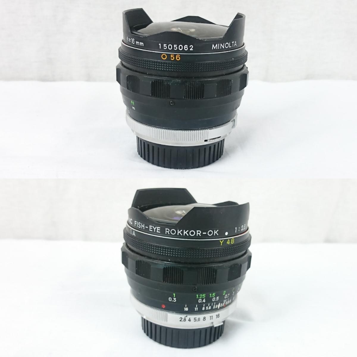 【GK-542】 名機! MINOLTA ミノルタ X-1 一眼レフ フィルムカメラ MC TELE ROKKOR-PF 1:2.8 f=135mm/ MC FISH-EYE ROKKOR-OK 1:2.8 f=16mm _画像7
