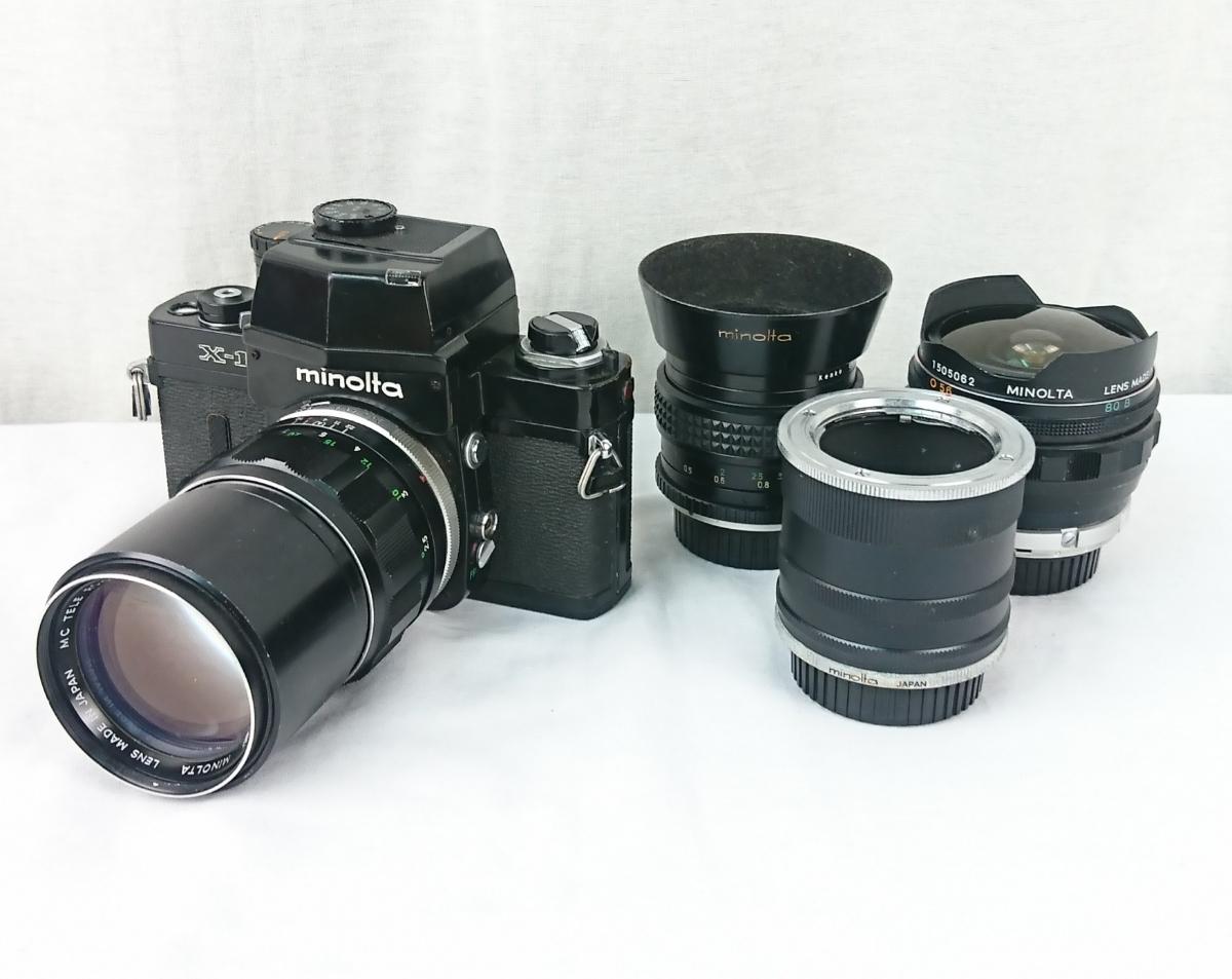 【GK-542】 名機! MINOLTA ミノルタ X-1 一眼レフ フィルムカメラ MC TELE ROKKOR-PF 1:2.8 f=135mm/ MC FISH-EYE ROKKOR-OK 1:2.8 f=16mm