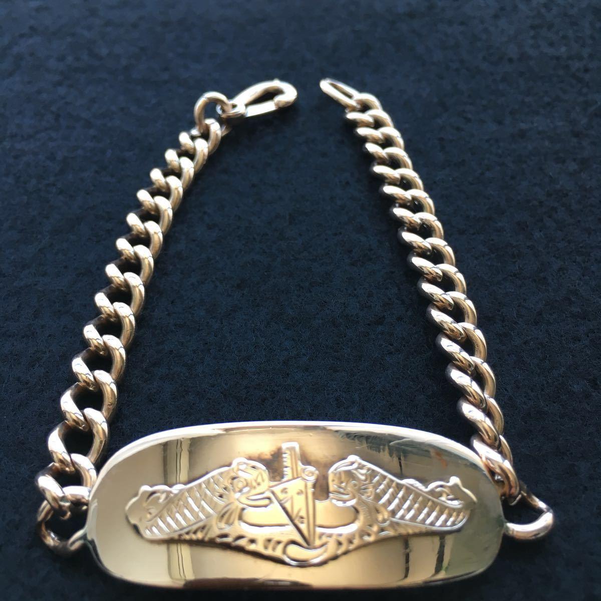 希少 貴金属 YG/10金 K10 ゴールド 1945年 ID ブレスレット ブレス ミリタリー 海軍 米軍 アメリカ軍 歴史資料 軍隊 潜水艦 アンティーク