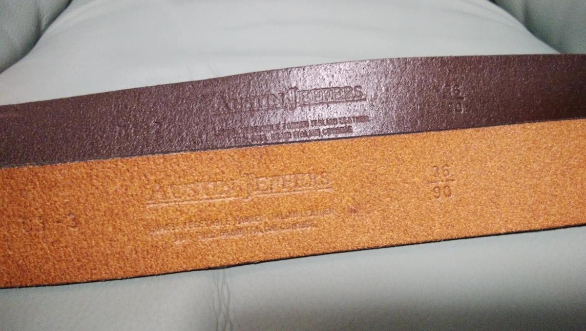 AUSTIN JEFFERS ITALY 36/90 高級レザーベルト2本セット 美品_画像3