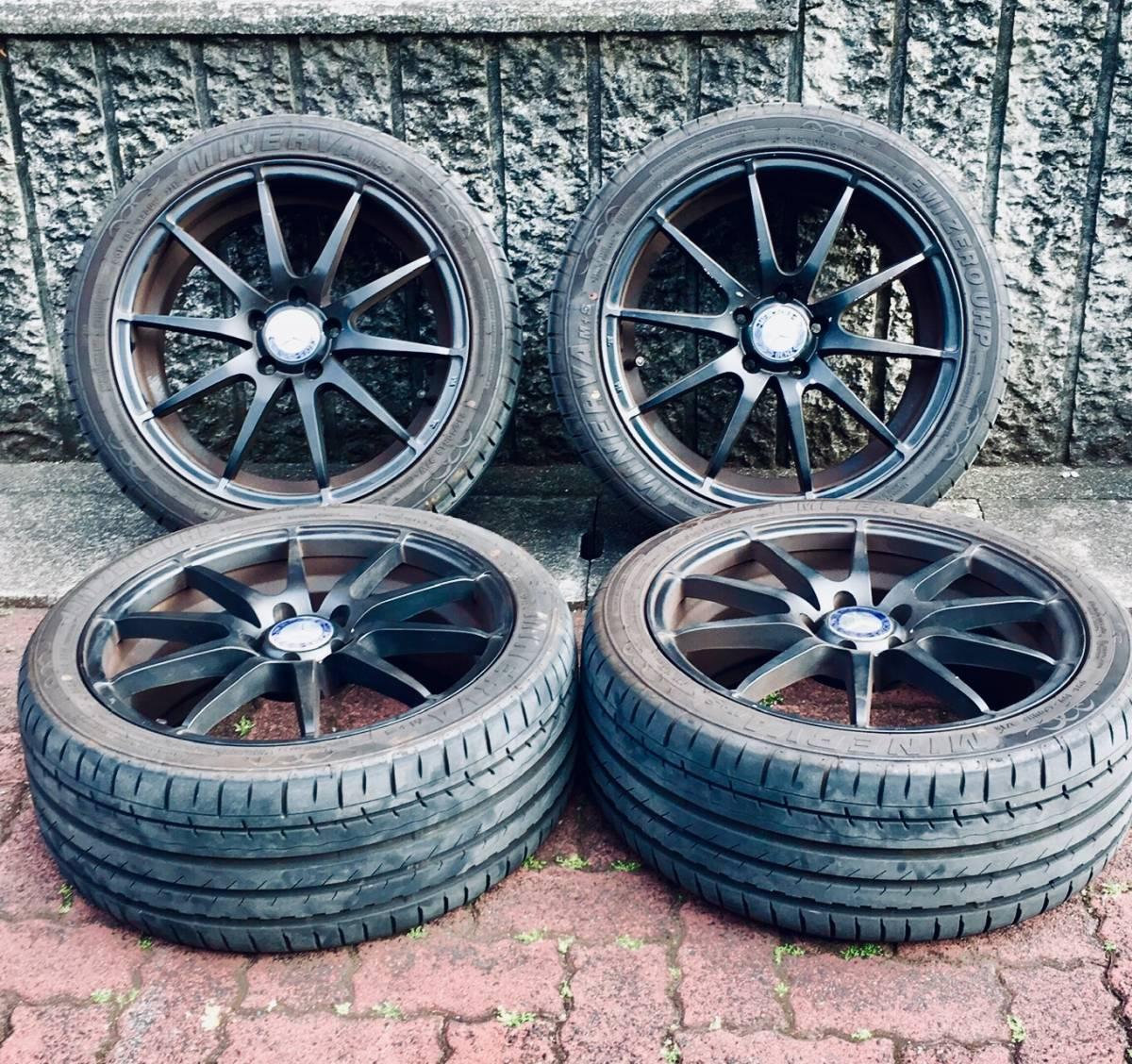 AMG ベンツ18インチタイヤホイールセット A/B/C/E/Vクラス/w245/w246/W204/W212/ 8J×18/PCD112/5H/ inset/50/245/45/18/ハブ66.6 ミネルバ
