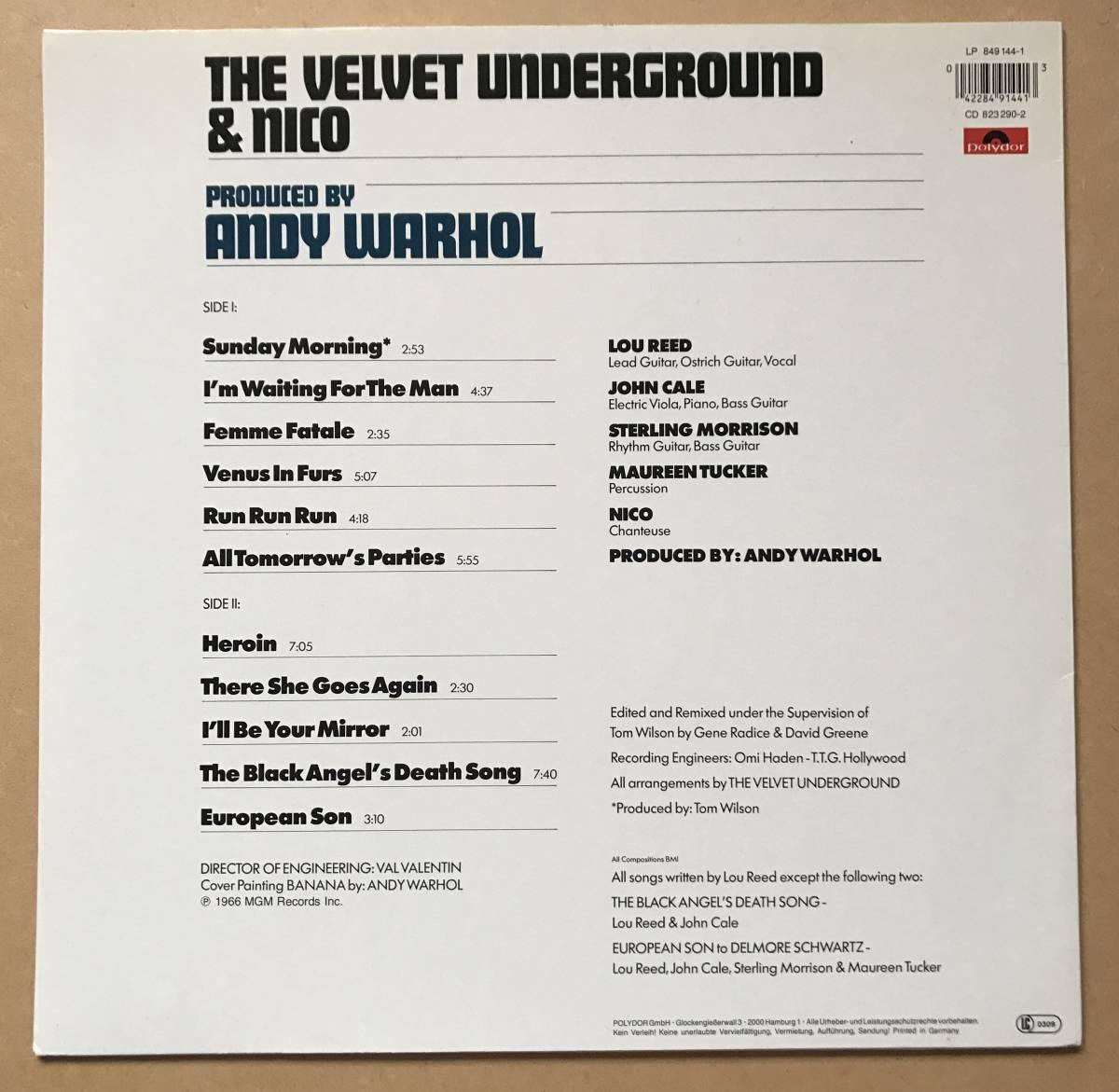 THE VELVET UNDERGROUND & NICO / ヴェルヴェット・アンダーグラウンド ANDY WARHOL 849 144-1_画像2