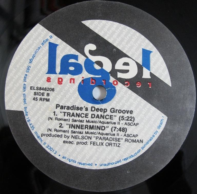 "Paradise's Deep Groove I Love 12インチ (US / 1992年 / E Legal ELS846206) (Nelson ""Paradise"" Roman)_画像2"