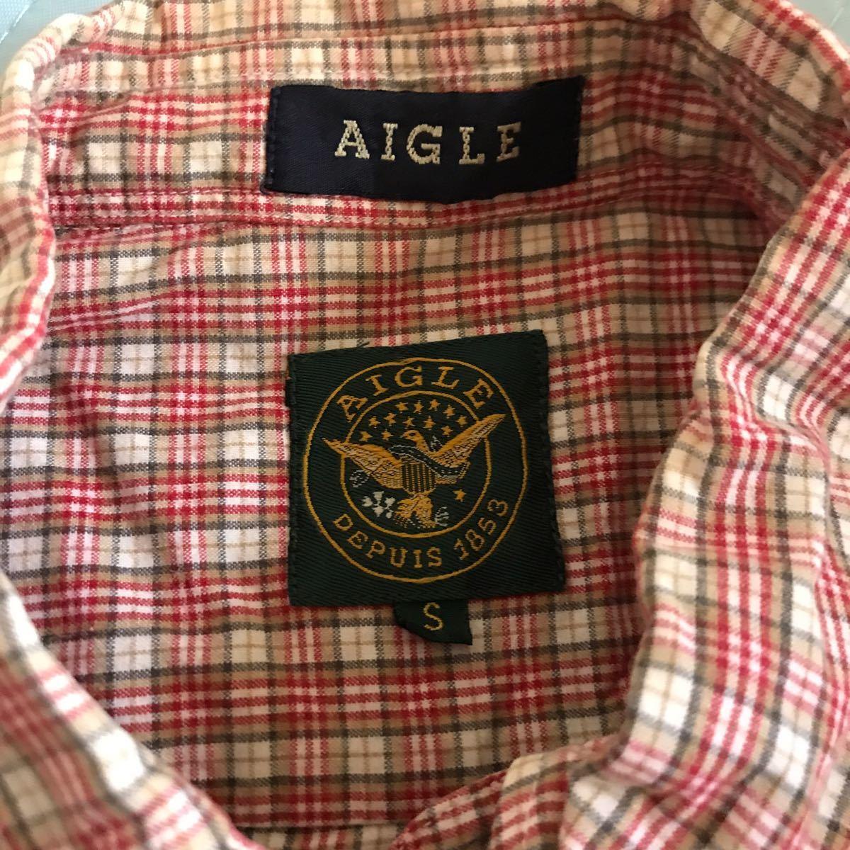 送料込み 希少日本製 エーグル AIGLE チェックシャツ サイズS_画像2