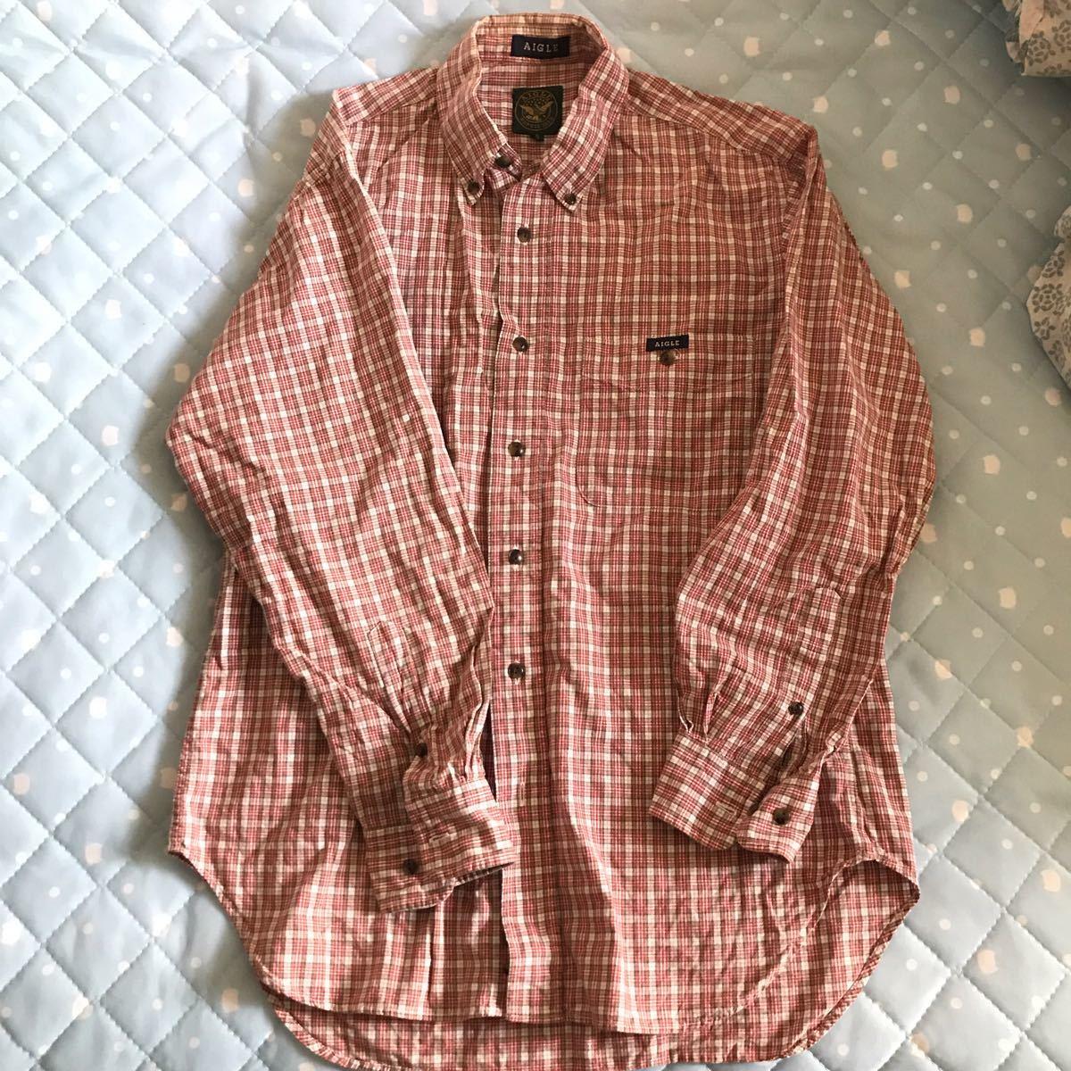 送料込み 希少日本製 エーグル AIGLE チェックシャツ サイズS_画像1