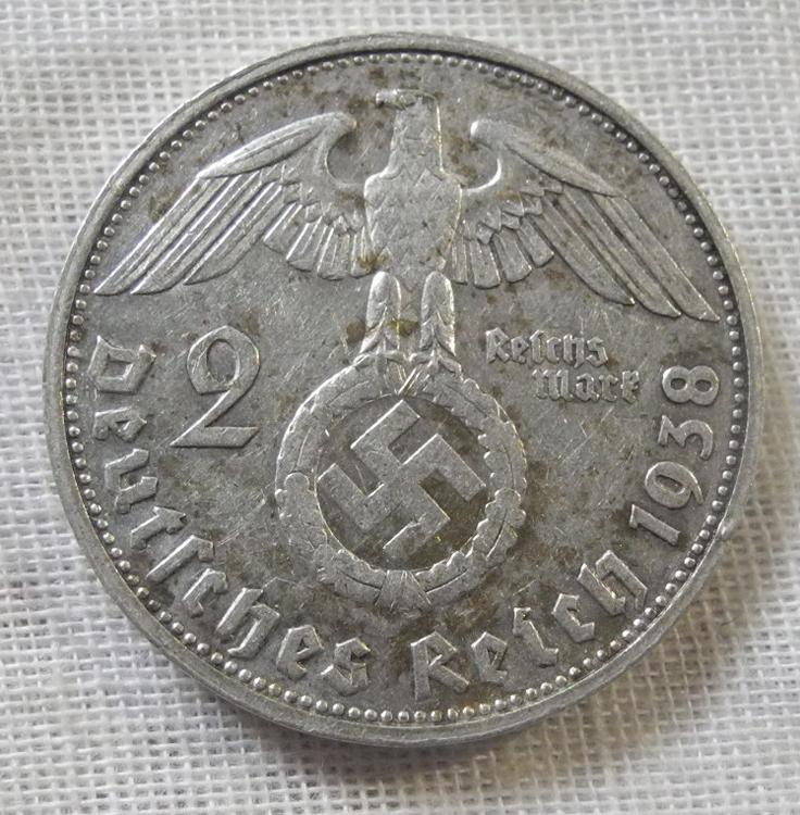 ヤフオク! - ドイツ 第三帝国 2ライヒスマルク 銀貨 1938年 G...