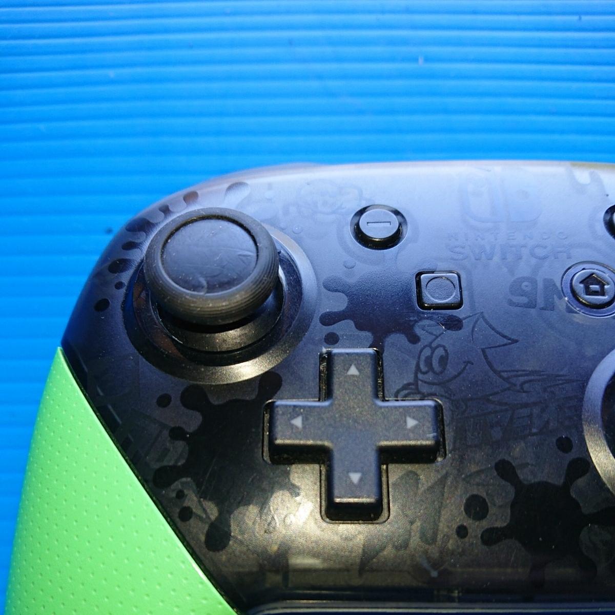 【動作未確認・ジャンク扱い】switch スイッチ コントローラー Nintendo Proコントローラー スプラトゥーン2 エディション 任天堂 純正_画像4