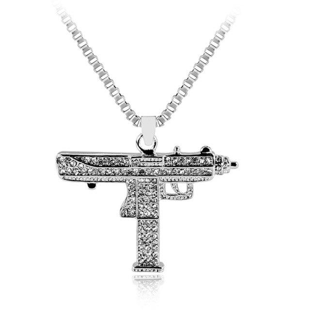 送料無料◆限定◆最高級18WGピストル機関銃ネックレス純金仕様◆プラチナ仕上げ◆ダイヤモンドCZ/AAA_画像1