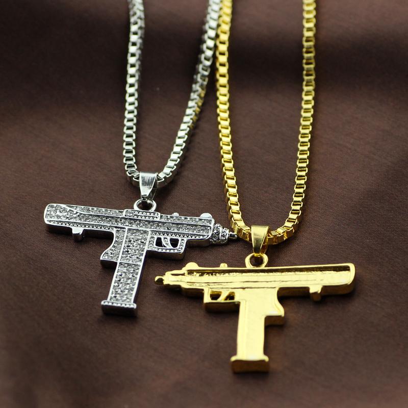 送料無料◆限定◆最高級18WGピストル機関銃ネックレス純金仕様◆プラチナ仕上げ◆ダイヤモンドCZ/AAA_画像2