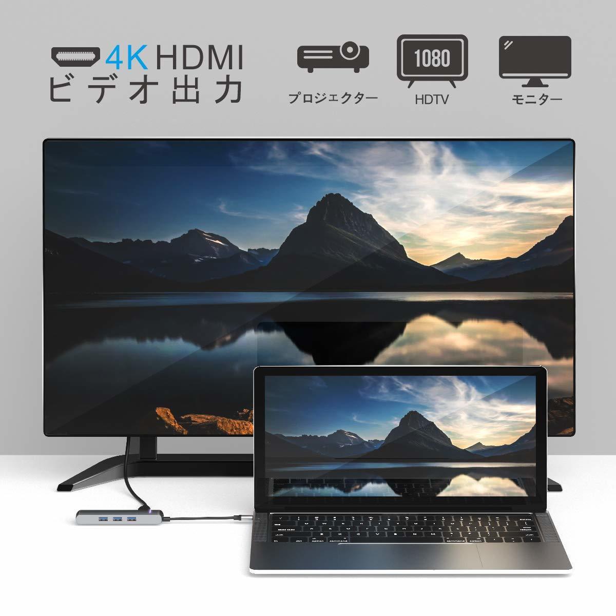 USB C ハブ Type C ハブ iTeknic USB ハブ USB 3.0ポート*3 PD充電 HDMI 4Kビデオ LANポート USBハブ 6ポート 高速データ転送 アルミニウム_画像6