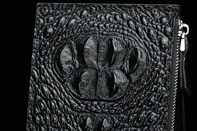 ※希少特注※ クロコダイル 長財布 ラウンドファスナー ワニ革×オーストリッチ内装 未使用 腹使用 一枚革 ゴールドファスナー_画像9