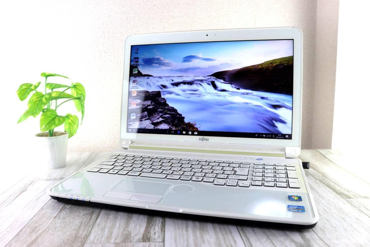 爆速カスタム! 富士通 AH56/E/Core i5 3.20GHz(ターボ時)/新品SSD480GB メモリ4GB/win10 office/Blu-ray USB3.0/HDMI