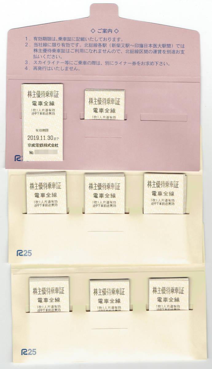 京成電鉄 株主優待乗車証 72枚 2019年11月30日迄 書留送料込