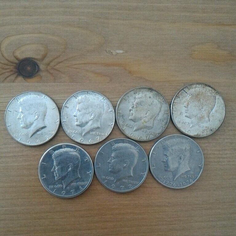 アメリカ硬貨 銀貨 1ドル 50セント 古銭_画像4