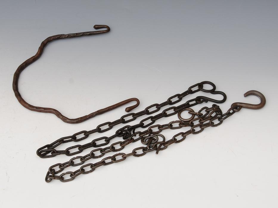釣釜用 鎖(くさり)2本 釣 弦(つる)セット 茶道具 煎茶道具 金属工芸 現代工芸 b5322o_画像1